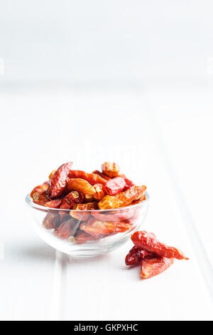 Dried mini chili peppers in bowl on white table. - Stock Photo