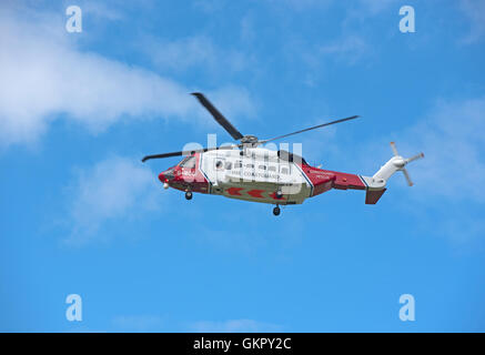 Inverness based Bristow's Sikorsky S92A Search and Rescue Coastguard Helicopter departing from Inverness home base. - Stock Photo