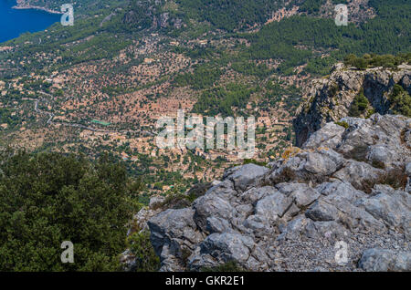 Panorama of Deia from the Tramuntana mountains on the GR 221, Baleares, Spain - Stock Photo