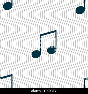 musical note, music, ringtone icon sign. Seamless pattern with geometric texture. Vector - Stock Photo