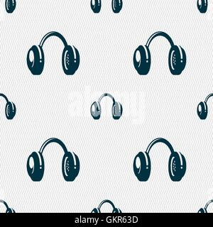 headsets icon sign. Seamless pattern with geometric texture. Vector - Stock Photo