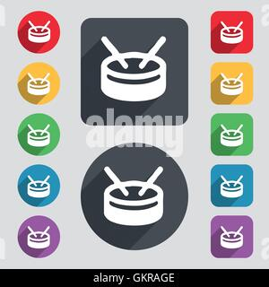 drum icon sign. A set of 12 colored buttons and a long shadow. Flat design. Vector - Stock Photo