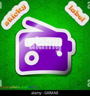 Retro Radio icon sign. Symbol chic colored sticky label on green background. Vector - Stock Photo