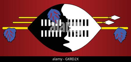 Swaziland Native Shield Flag - Stock Photo