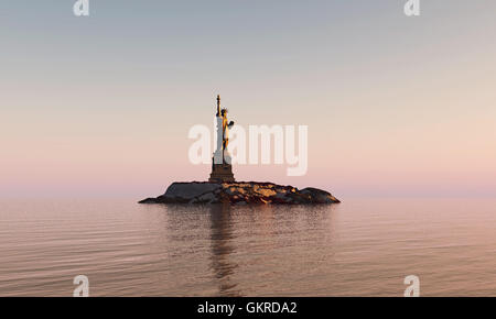 liberty statue in post apocalyptic environment - Stock Photo