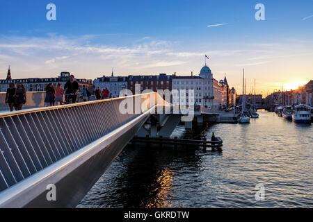 Inderhavnsbroen -  the new Inner Harbour pedestrian and cyclist bridge connecting Nyhavn and Christianshavn, Copenhagen, - Stock Photo