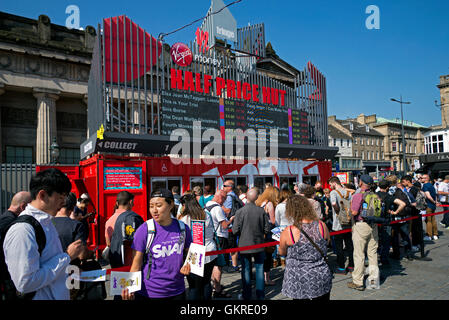 The Virgin 'Half Price Hut'  at The Mound selling budget tickets for shows during the Edinburgh Fringe Festival. - Stock Photo