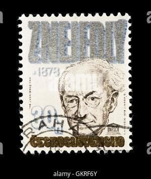 Postage stamp from Czechoslovakia depicting Zdenek Nejedly. - Stock Photo