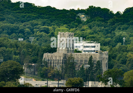 West Point, NY USA - August 21, 2016: General view of West Point Academy from Hudson river - Stock Photo