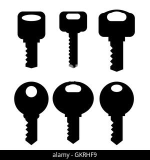 Keys Silhouettes Icons Set Isolated on White Background - Stock Photo