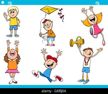 children characters cartoon set - Stock Photo
