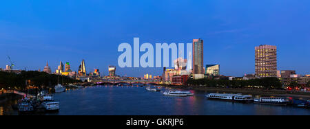 Panoramic view of the London skyline showing St Paul's Cathedral The City of London and the Shard. - Stock Photo