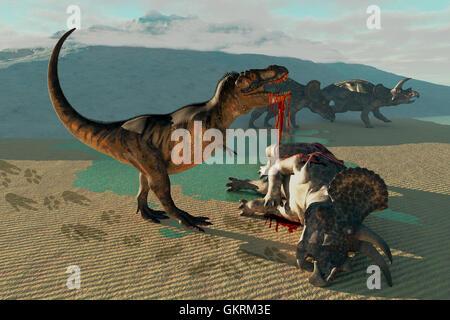 Triceratops and Tyrannosaurus - Stock Photo