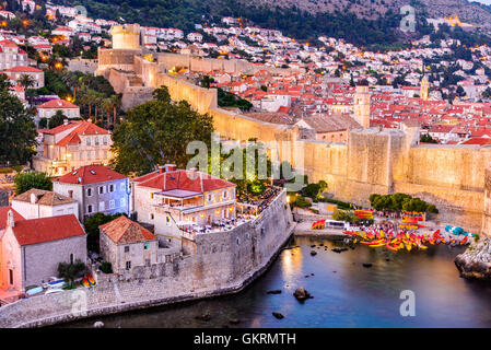 Dubrovnik, Croatia. Spectacular twilight picturesque view on the old town of Ragusa from the Lovrijenac Fortress. - Stock Photo