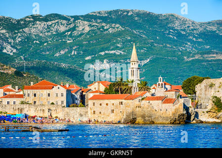 Budva, Montenegro. Ancient walls and tiled roof of old town. Budva - one of the best preserved medieval cities in - Stock Photo