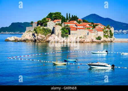 Sveti Stefan, Montenegro. View with fantastic small island and resort on the Adriatic Sea coast, Budva city region. - Stock Photo