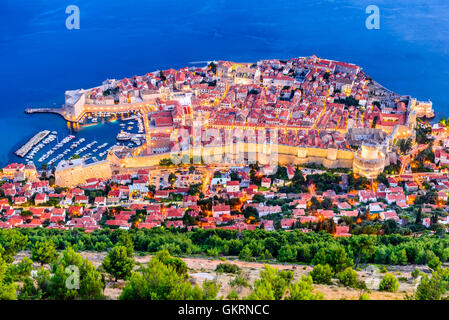 Dubrovnik, Croatia. Spectacular twilight picturesque view on the old town of Dubrovnik, Ragusa on Dalmatian Coast. - Stock Photo
