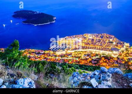 Dubrovnik, Croatia. Spectacular twilight picturesque view on the old town, medieval Ragusa and Lokrum island on - Stock Photo