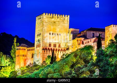 The Alcazaba, Alhambra Palace, Granada, Andalusia, Spain, Europe Stock Photo,...