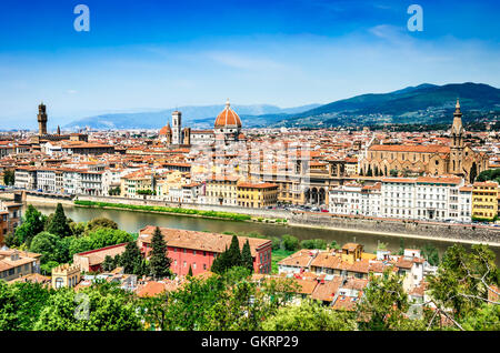 Florence, Italy. Summer cityscape of italian city Firenze, main cultural town of Tuscany. Palazzo Vecchio, Cathedral. Stock Photo