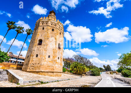 Seville, Andalusia, Spain - Torre del Oro (Tower of Gold) built by Almohad moorish dinasty near Guadalquivir river. - Stock Photo