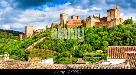 Granada, Spain. Famous Alhambra, Nasrid Emirate fortress, European travel landmark in Andalusia. - Stock Photo