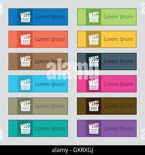 Cinema Clapper icon sign. Set of twelve rectangular, colorful, beautiful, high-quality buttons for the site. Vector - Stock Photo