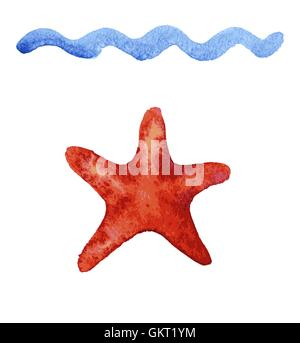 Set of hand drawn watercolor starfishes - Stock Photo