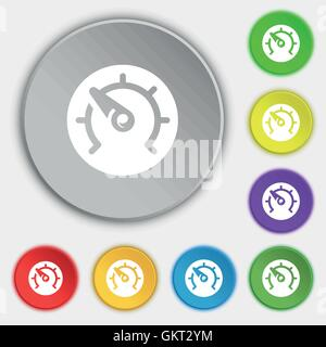 speed, speedometer icon sign. Symbol on five flat buttons. Vector - Stock Photo