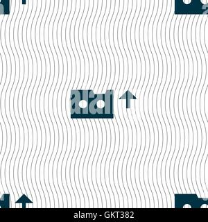 audio cassette icon sign. Seamless pattern with geometric texture. Vector - Stock Photo