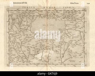 'Persia Nuova Tavola'. New map of Persia. Iran & Caspian Sea. RUSCELLI, 1598 - Stock Photo