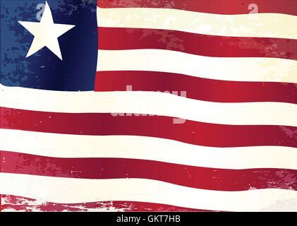 Liberia Flag Grunge - Stock Photo