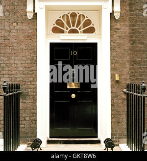 A copy of the door that stands at the entrance to 10 Downing Street, London, UK. Note that this door is not the - Stock Photo