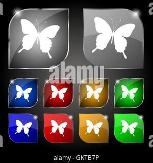 butterfly icon sign. Set of ten colorful buttons with glare. Vector - Stock Photo