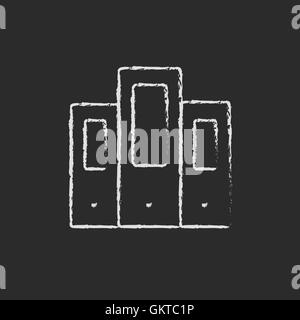 Book file drawn in chalk - Stock Photo