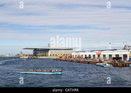 Copenhagen, Denmark - August 17, 2016: View of the harbor with the opera and paper island - Stock Photo