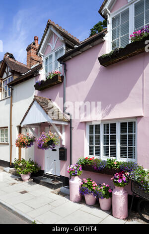 Colourful traditional cottages in the Exmoor town of Dunster, Somerset UK - Stock Photo