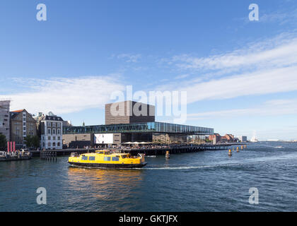 Copenhagen, Denmark - August 17, 2016: View of the harbor with the playhouse - Stock Photo