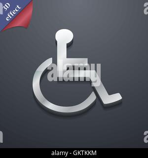 disabled icon symbol. 3D style. Trendy, modern design with space for your text Vector - Stock Photo