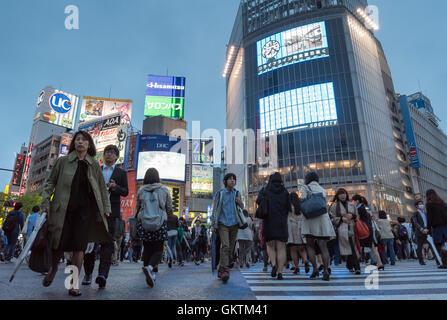 Shibuya Crossing, Tokyo, Japan - Stock Photo