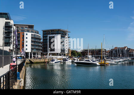 Ocean Village, Marina and a residential, business and leisure development, Southampton, Hampshire, England, UK - Stock Photo