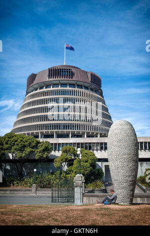 Wellington, New Zealand - March 3, 2016: The Beehive is the common name for the Executive Wing of the New Zealand - Stock Photo