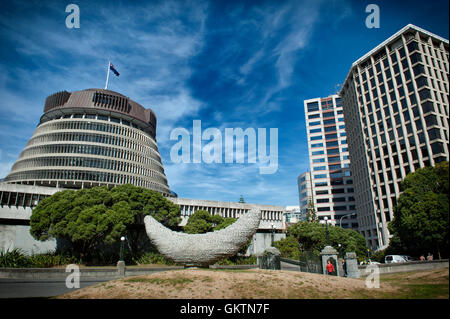 Wellington, New Zealand - March 3, 2016: The Beehive, the Executive Wing of the New Zealand Parliament Buildings - Stock Photo