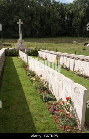 Headstones in the British cemetery at Ligny Sur Canche Picardy - Stock Photo