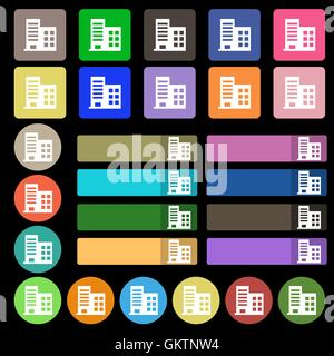 high-rise commercial buildings and residential apartments  icon sign. Set from twenty seven multicolored flat buttons. - Stock Photo