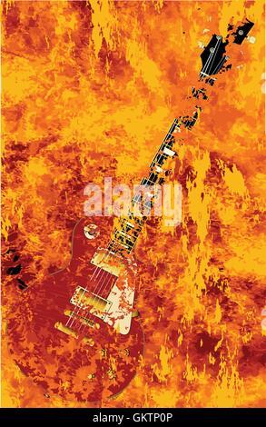 Burning Guitar - Stock Photo