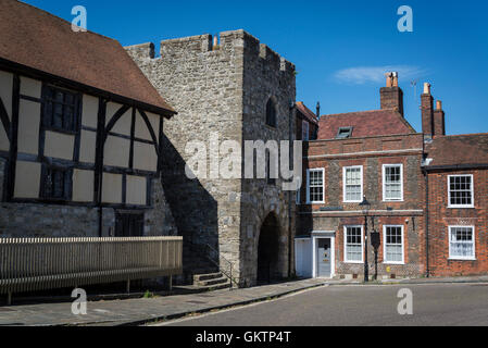 Tudor Merchants Hall and the West Gate, Medieval Town Walls, Southampton, Hampshire, England, UK - Stock Photo