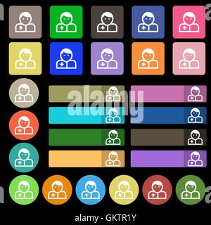 Doctor  icon sign. Set from twenty seven multicolored flat buttons. Vector - Stock Photo