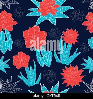Vector Night Desert Cacti Flowers Seamless Pattern - Stock Photo