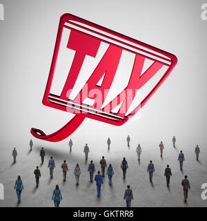 High tax challenge and business taxes concept as a fly swatter with text challenging a group of people as a financial - Stock Photo